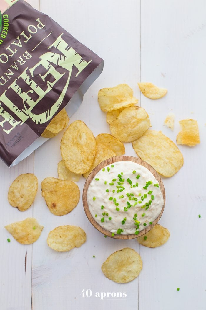 This paleo French onion dip is easy, delicious, and perfect with potato chips for a paleo appetizer. This Paleo French onion dip is absolutely bound to become one of your favorite paleo dips and it's just in time for summer!