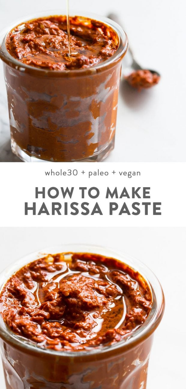 Homemade paleo and vegan harissa paste in a glass jar.