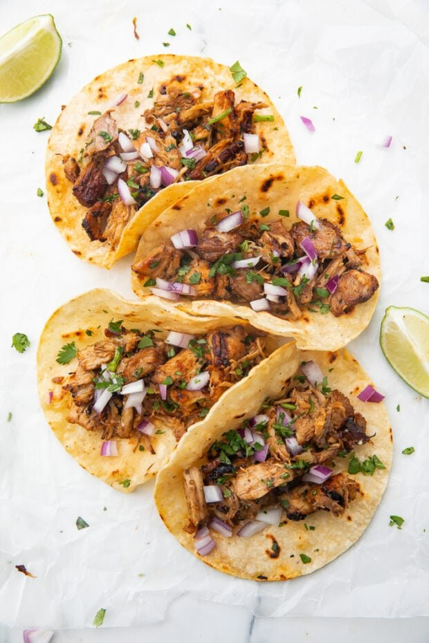 Tortillas filled with Instant Pot carnitas