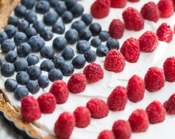 Paleo Flag Fruit Tart (Vegan Option)