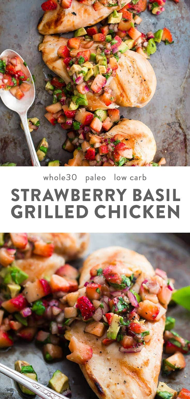 Strawberry basil chicken with avocado on a baking sheet.