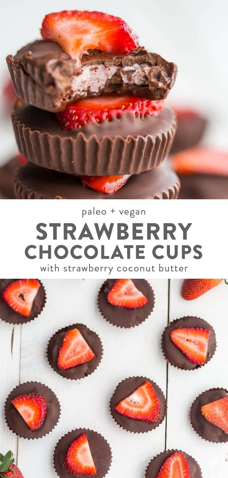 A stack and an assortment of paleo and vegan chocolate strawberry coconut butter cups on a white background.