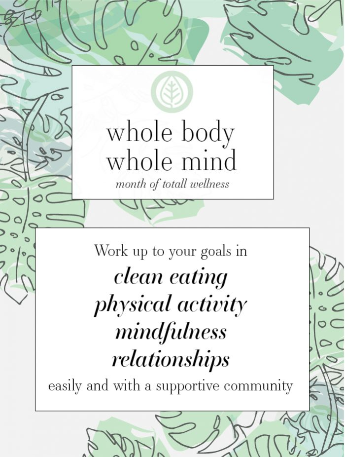 Free wellness challenge for clean eating, physical activity, mindfulness, relationships. Printable