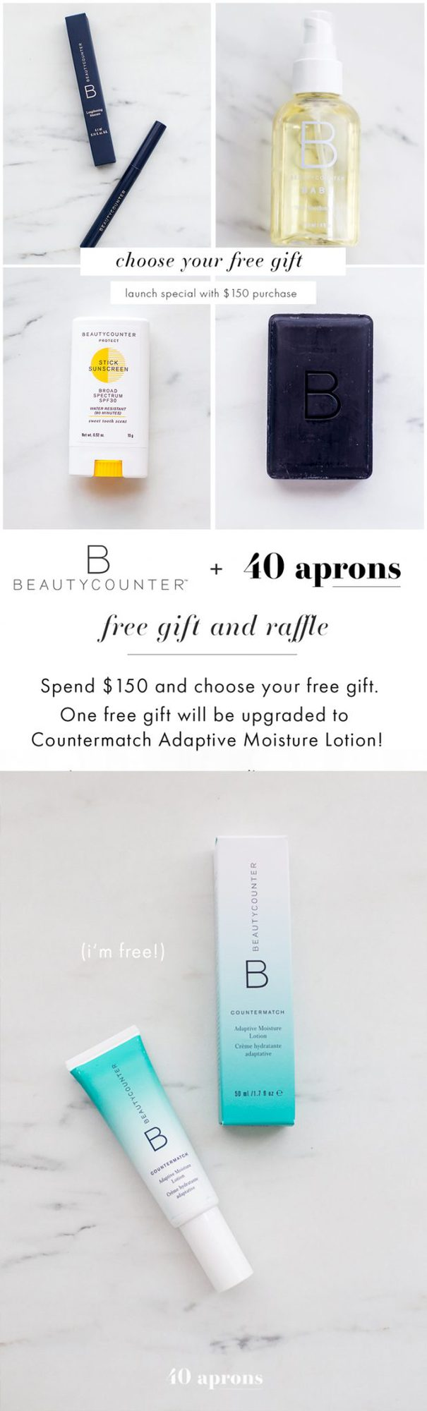 Beautycounter free gift launch special! Get your choice of a Charcoal Cleansing Bar, Baby Soothing Oil, Protect Sunscreen Stick, or Lengthening Mascara with the purchase of $150 or more. AND one will win a Beautycounter Countermatch Moisture Lotion. Kind of the perfect Beautycounter free gift, eh?