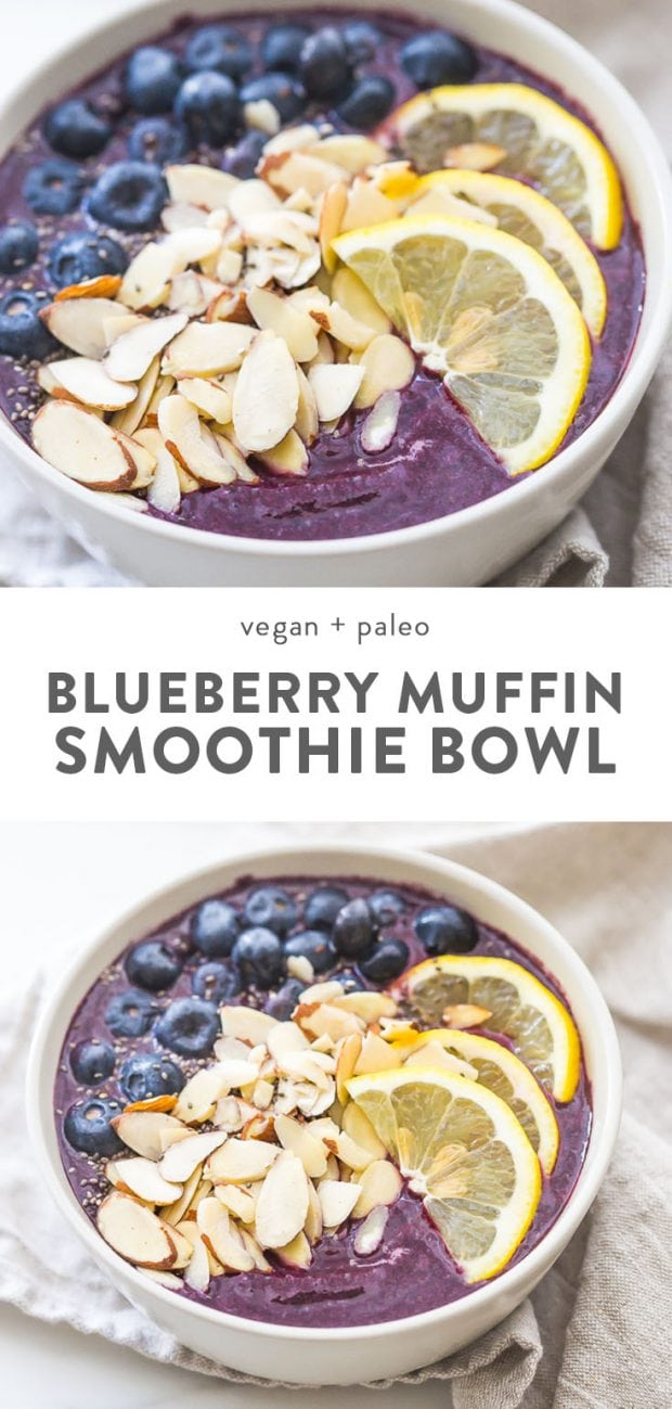 Blueberry muffin smoothie bowl with lemon, fresh blueberries, and almonds.