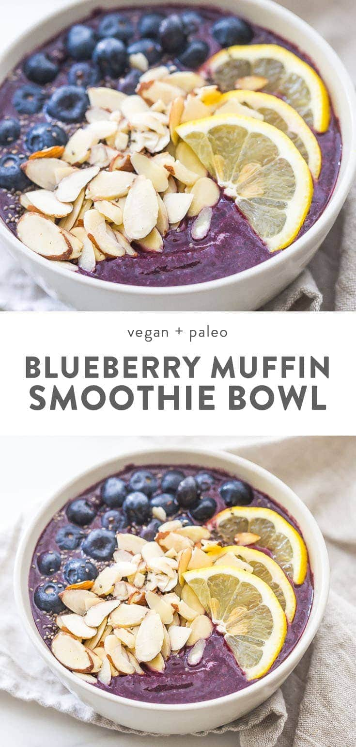 This blueberry muffin smoothie bowl is sweet with a touch of lemon and vanilla, just like a blueberry muffin! This blueberry smoothie bowl takes only 5 minutes and is paleo and vegan. With only 5 ingredients, you'll get addicted to this blueberry muffin smoothie bowl! #vegan #paleo