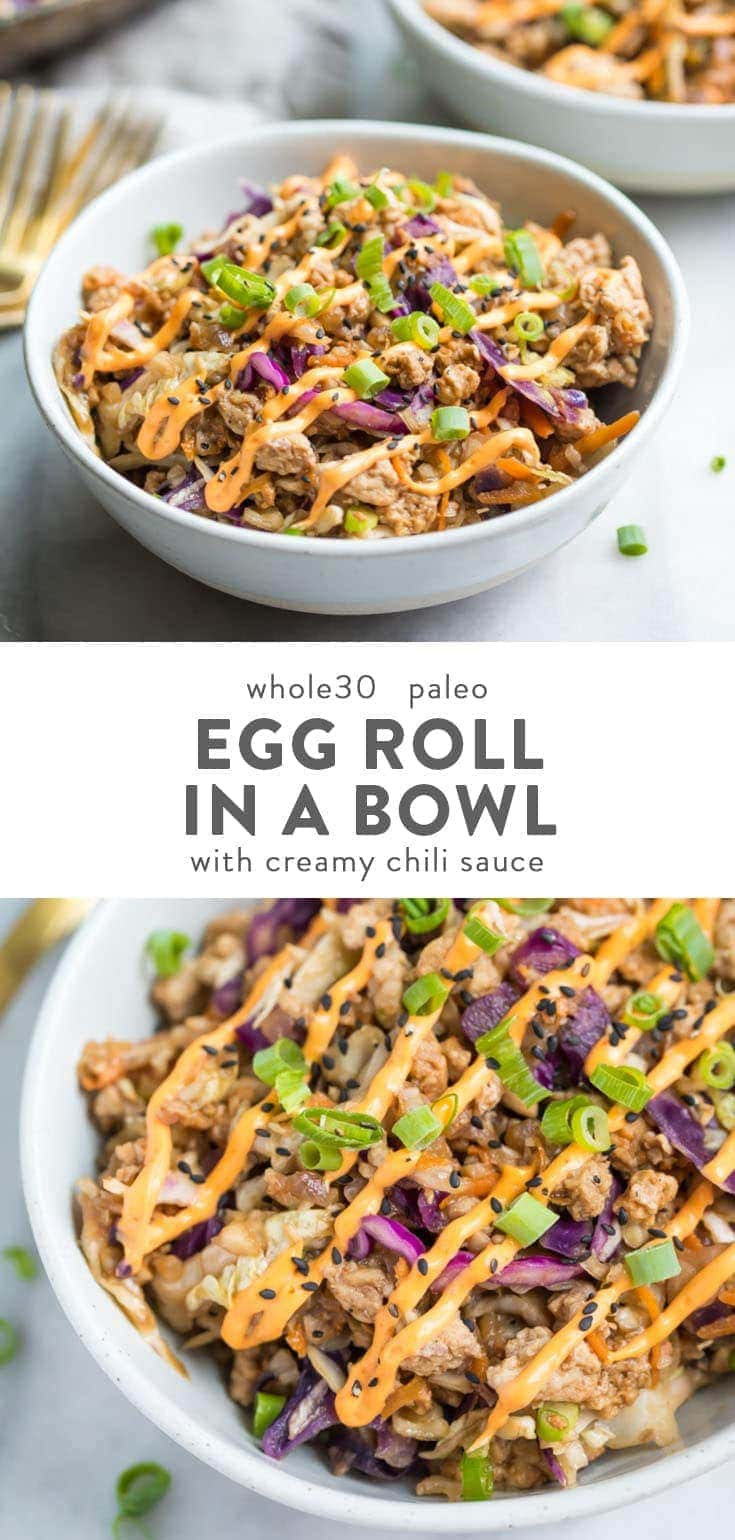 This Whole30 egg roll in a bowl with creamy chili sauce is a wonderfully flavorful, quick Whole 30 recipe. This low carb and paleo
