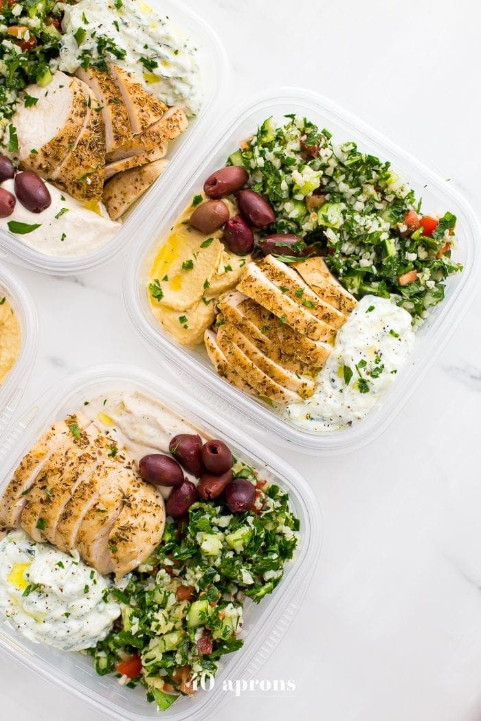 Whole30 Greek salads in meal prep boxes