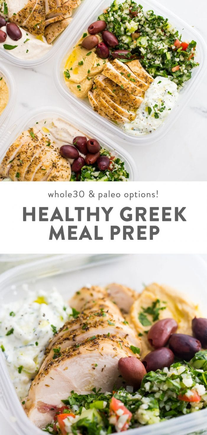 Healthy greek meal prep recipe in portable lunch bowls on a white table.