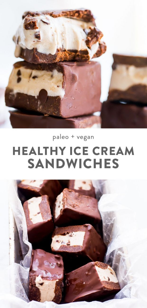 A stack of healthy vegan ice cream sandwiches, and paleo ice cream sandwiches in a bowl.