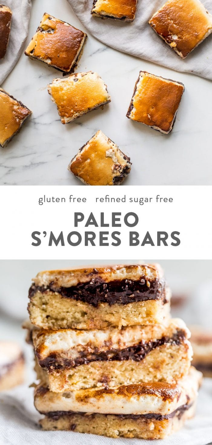 A stack of paleo smores bars, and smores bars on a marble table.