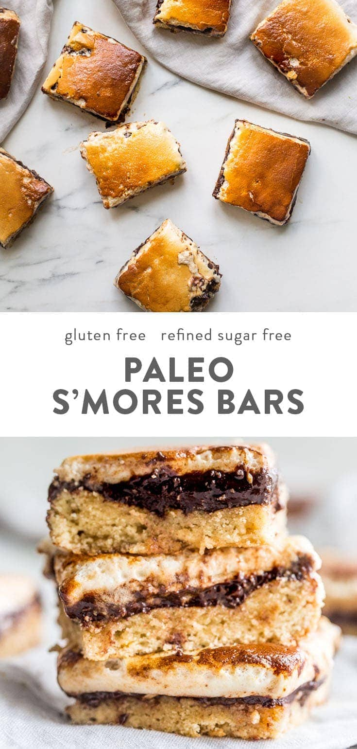These paleo s'mores bars are the perfect paleo dessert. A graham cracker crust, topped with chocolate and a burnt marshmallow layer, they're inspired by the classic summer treat but are grain-free, dairy-free, and refined-sugar-free. These paleo s'mores bars are great for entertaining! #paleo #dessert