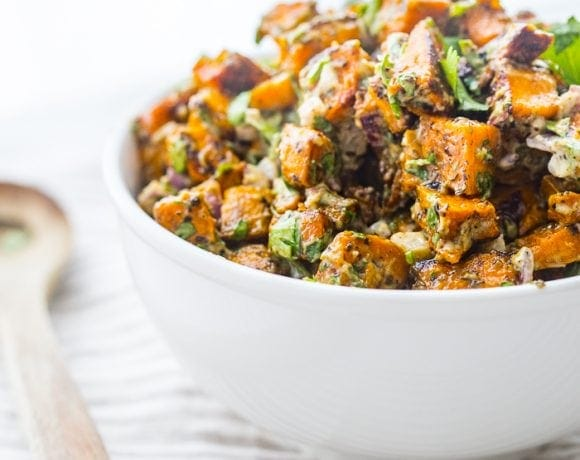 Herb Roasted Whole30 Sweet Potato Salad (Paleo, Vegan)