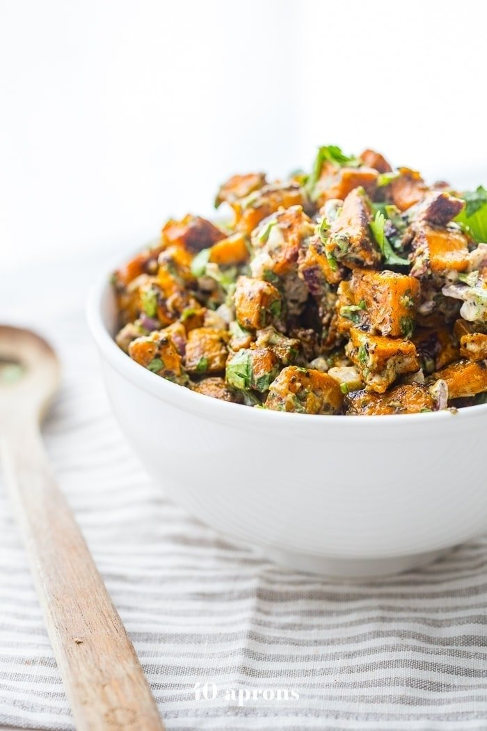 herb roasted Whole30 sweet potato salad