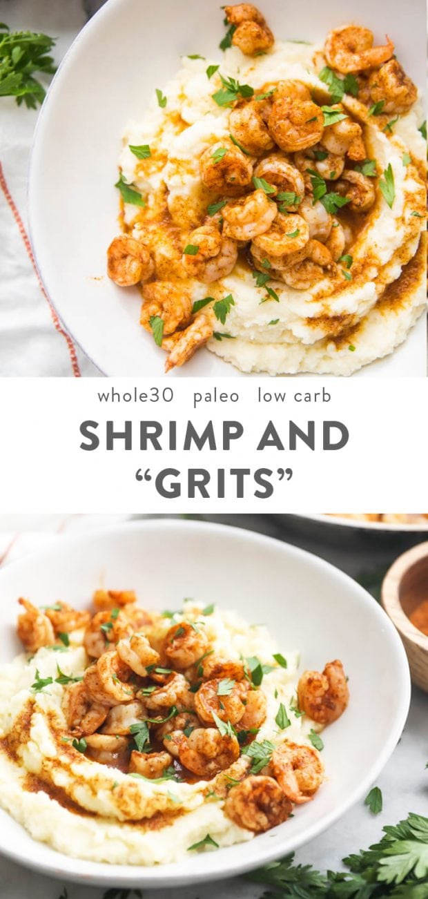 Paleo Shrimp and Grits (Whole30, Low Carb) Pinterest image