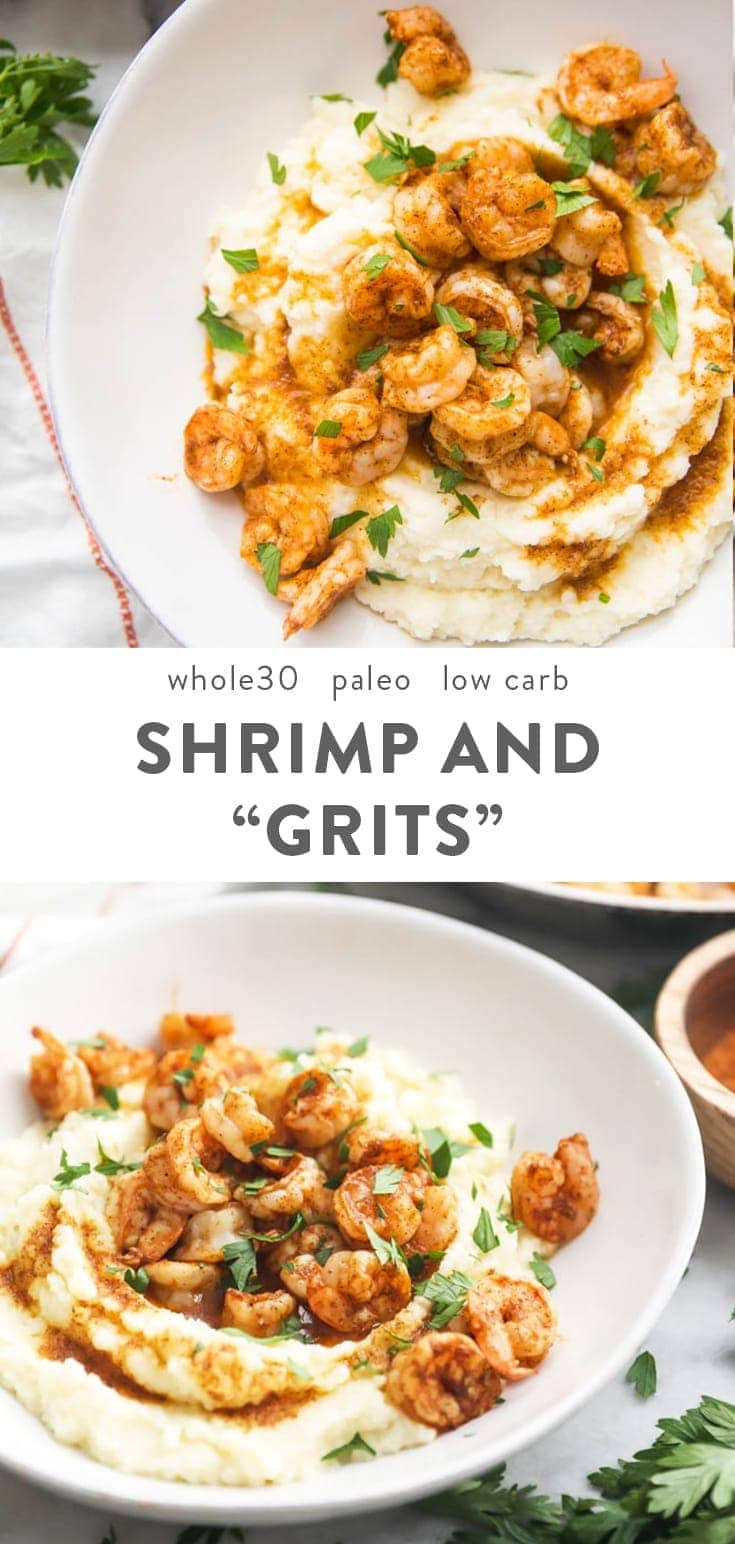 This healthy shrimp and grits recipe might just blow you away. With only 5 ingredients in the whole dish, it's packed full of flavor. This Whole30 dinner recipe is crazy easy and fast, too. Cauliflower grits make this dish low carb, keto, and paleo! #whole30 #paleo