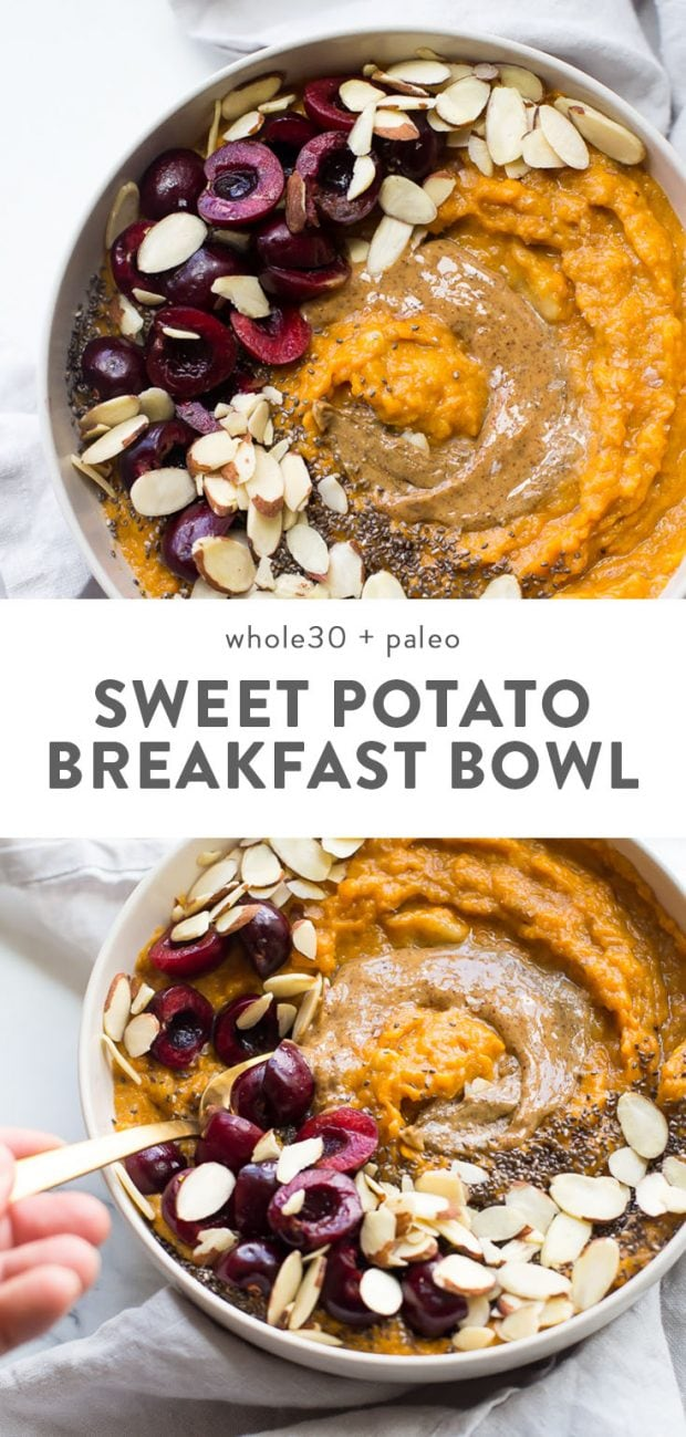 Paleo sweet potato breakfast bowl with nut butter and almonds.