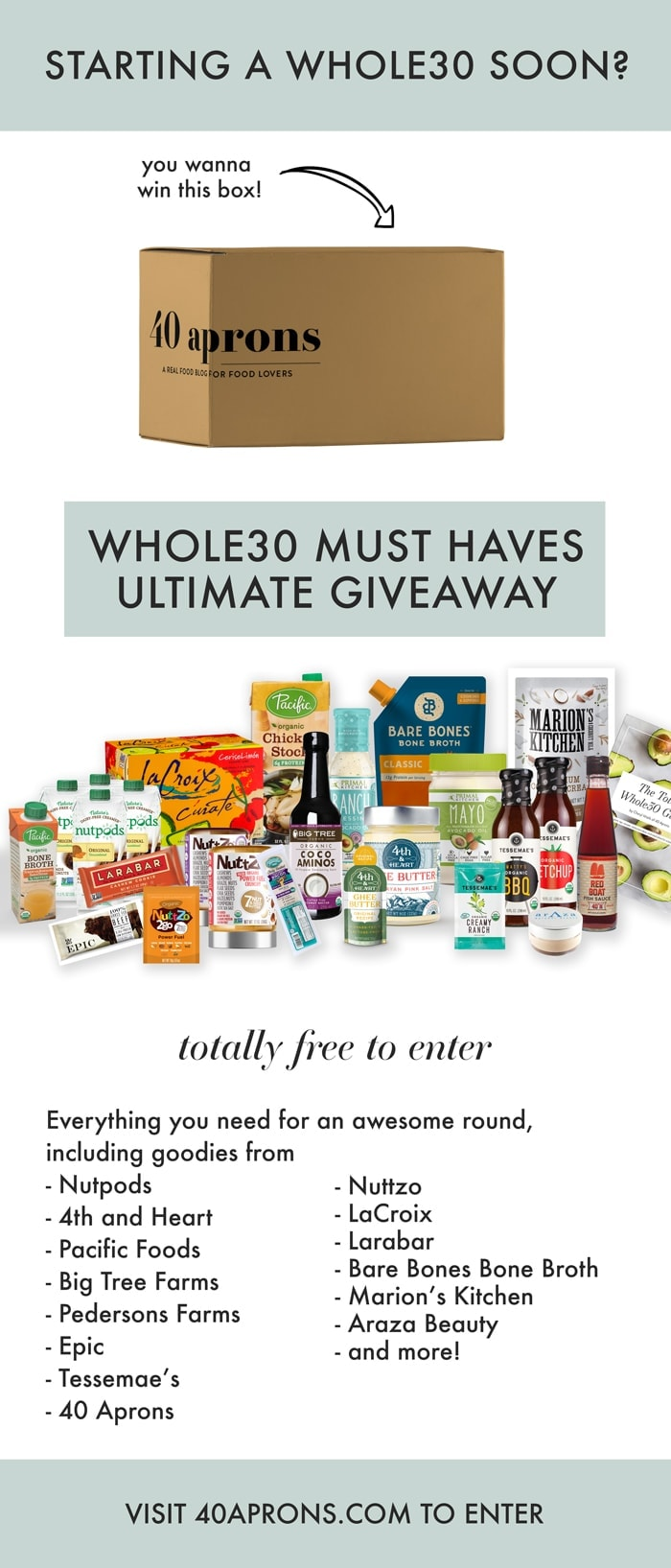 The ultimate Whole30 Giveaway! I've bundled my favorite Whole30 products for the most epic Whole30 giveaway. Enter for free - good luck on this Whole30 giveaway!