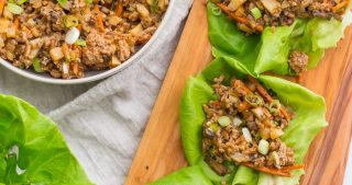 These Whole30 lettuce wraps are the best PF Changs lettuce wraps recipe. Loaded with flavor and with lots of veggies, these Whole30 lettuce wraps are a great Whole30 dinner recipe. You'll love these paleo lettuce wraps because they're filling yet light, totally healthy, and slightly sweet yet nutty and spicy. So good! My favorite PF Changs lettuce wraps recipe, for sure.