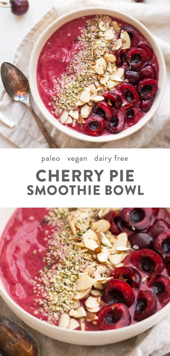 Vegan and paleo smoothie bowl topped with hemp seeds, almonds, and fresh cherries.