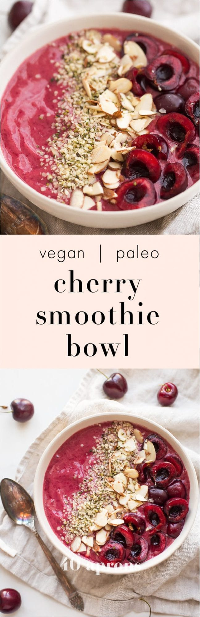 This cherry smoothie bowl is so bright and refreshing yet totally filling. With only a handful of ingredients, this cherry smoothie bowl comes together in just a few minutes. This vegan smoothie bowl is perfect for the spring or summer and will keep you full for hours! Such a fantastic paleo smoothie bowl, too. It tastes so much like cherry pie: the vanilla extract really makes it!