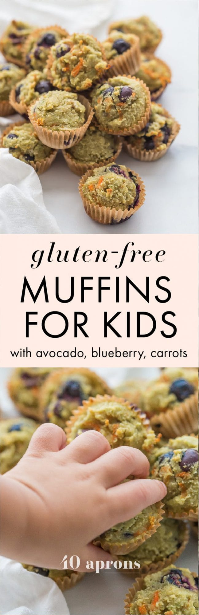 These gluten-free muffins for kids (with blueberries and avocado) are the perfect back-to-school muffins! Gluten and grain free, made with cultured dairy, and with low sugar, they're great to serve to a class, too. These gluten-free muffins for kids are packed with fruits and veggies, including carrots, avocado, and blueberries! I think your family will love these gluten-free muffins for kids just as much as mine does.