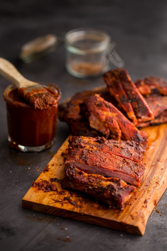These Whole30 ribs are easy and cooked on the grill, making them a great Whole30 dinner! Smoky, spicy, and full of flavor, they're delicious with my Whole30 BBQ sauce. Definitely the perfect Whole30 ribs or Whole30 dinner now that football season is upon us!