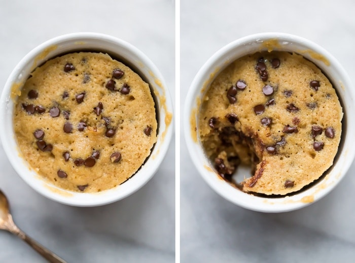 This paleo microwave cookie with chocolate chips is a perfect paleo microwave dessert! It takes only a few minutes and a couple dishes to make and produces a rich and tender cakey chocolate chip cookie that's healthier for you. It's certainly my favorite paleo microwave dessert so far, and I think this paleo microwave cookie with chocolate chips will become a regular in your repertoire!