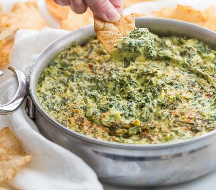 Paleo Spinach Artichoke Dip (Vegan Spinach Artichoke Dip) with JaM Cellars Wines
