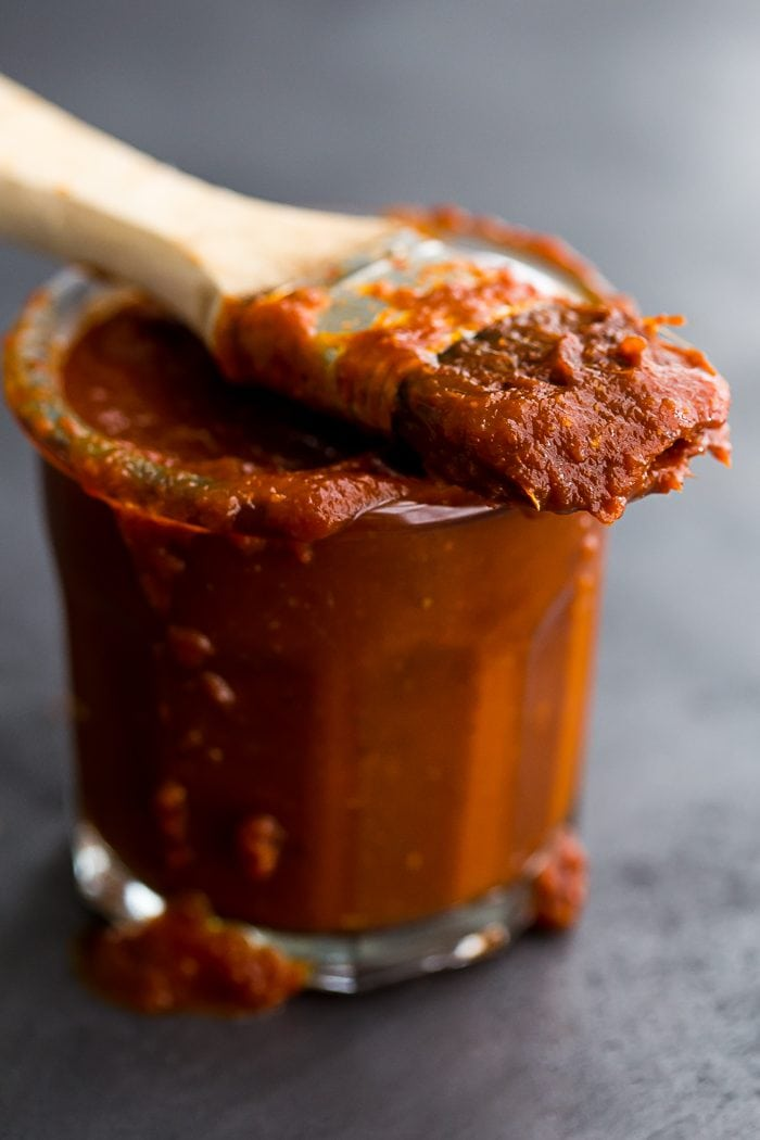 This Whole30 BBQ sauce is a delicious Whole30 condiment. Perfect on ribs, pulled pork, or chicken, this Whole30 BBQ sauce is spiced with chipotle powder and lightly sweetened with coconut aminos. A jar of this Whole30 BBQ sauce in the fridge will mean plenty of simple, flavorful Whole30 dinners!