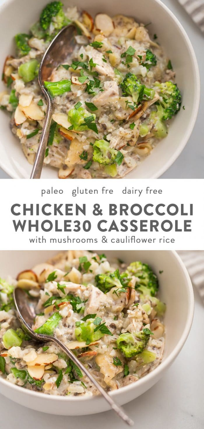 Whole30 chicken and broccoli casserole in a baking dish and a serving in a bowl.