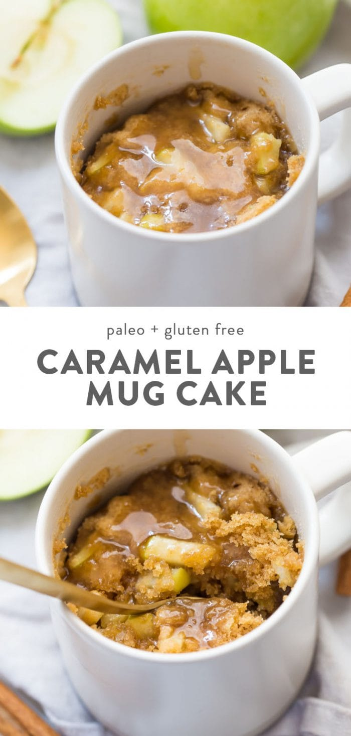 Paleo apple microwave cake in a mug, topped with vegan caramel sauce.