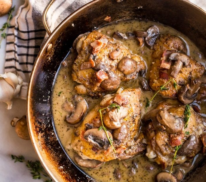 Creamy Whole30 Bacon Mushroom Chicken Thighs with Thyme (Paleo)