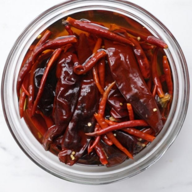 dried chilies soaking in warm water (how to make harissa step by step guide)