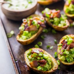 Paleo Potato Skins with Guacamole and Bacon (Whole30, Instant Pot, Dairy-Free)