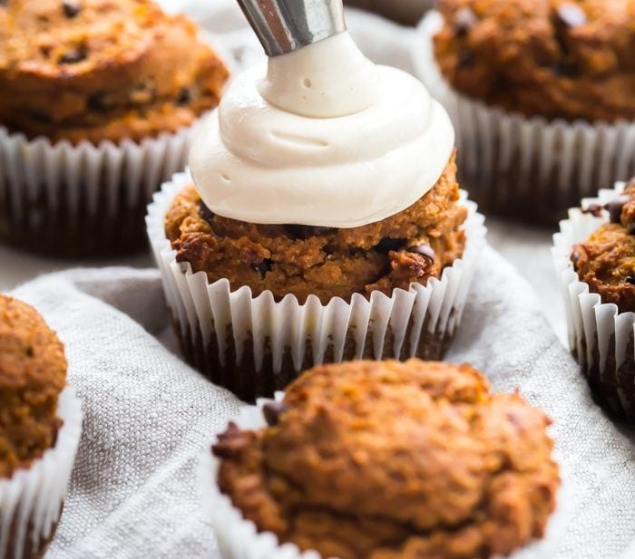 Paleo Pumpkin Chocolate Chip Muffins with Cream Cheese Frosting (Dairy-Free, GF)