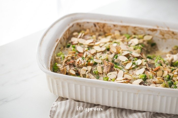 This Whole30 casserole is a perfect Whole30 fall recipe, loaded with warming and filling ingredients. This Whole30 casserole is made with chicken, broccoli, cauliflower rice, and mushrooms, making it full of protein, fiber, and healthy fats! This Whole30 casserole makes plenty of leftovers, making healthy lunches easy. With a homemade cream of mushroom soup, you'll love this Whole30 casserole on a round or anytime.