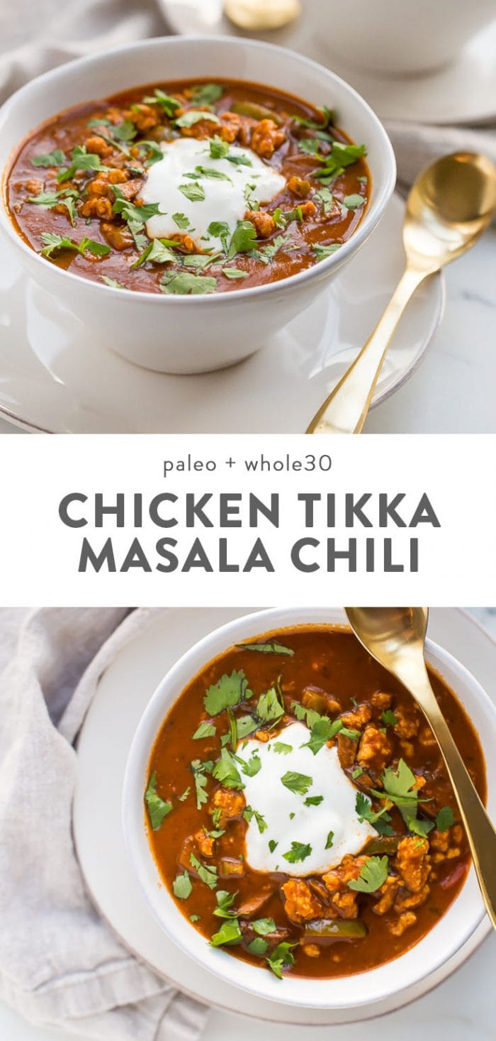 A bowl of whole30 chicken tikka masala chili with a gold spoon.