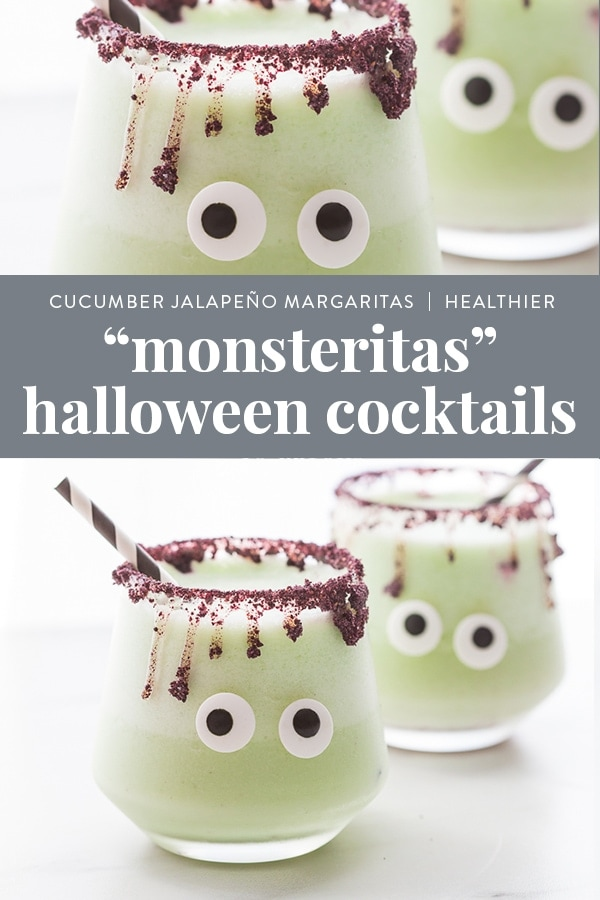 Monsteritas Halloween Cocktails (Cucumber Jalapeño Margaritas, Healthier) Pinterest image