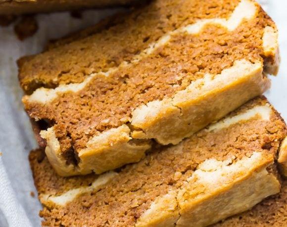 Paleo Cheesecake Stuffed Pumpkin Bread (Gluten Free, Grain Free, Dairy Free)