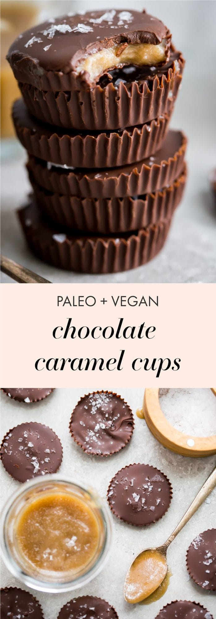These paleo chocolate cups with caramel are rich and stuffed with a quick but delicious caramel (made in the Instant Pot!). These paleo chocolate cups with caramel are the perfect healthy candy, and I don't know anyone who wouldn't like a couple of these paleo chocolate cups with caramel for Halloween. Easy but impressive!