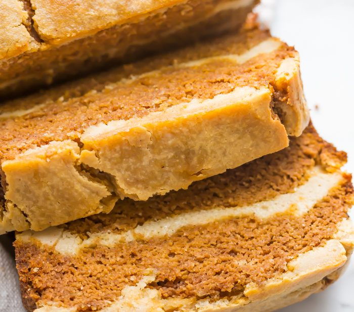 Paleo pumpkin bread with cream cheese swirl sliced