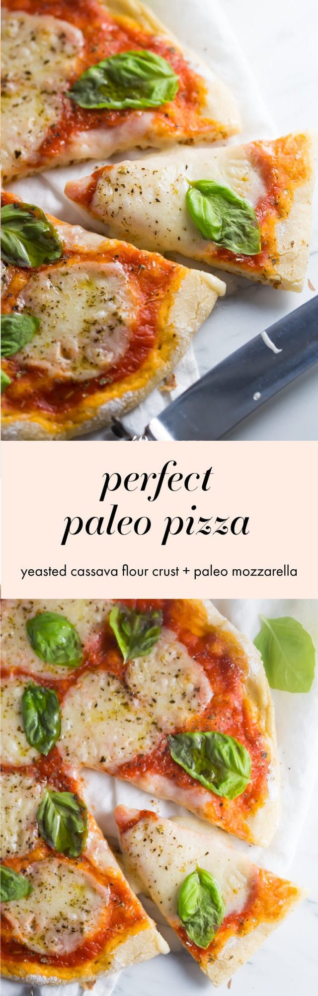 This perfect paleo pizza recipe is exactly that: the perfect paleo pizza recipe! Made with a yeasted cassava flour pizza crust, it's tender but crisp on the outside, layered with a paleo fresh mozzarella
