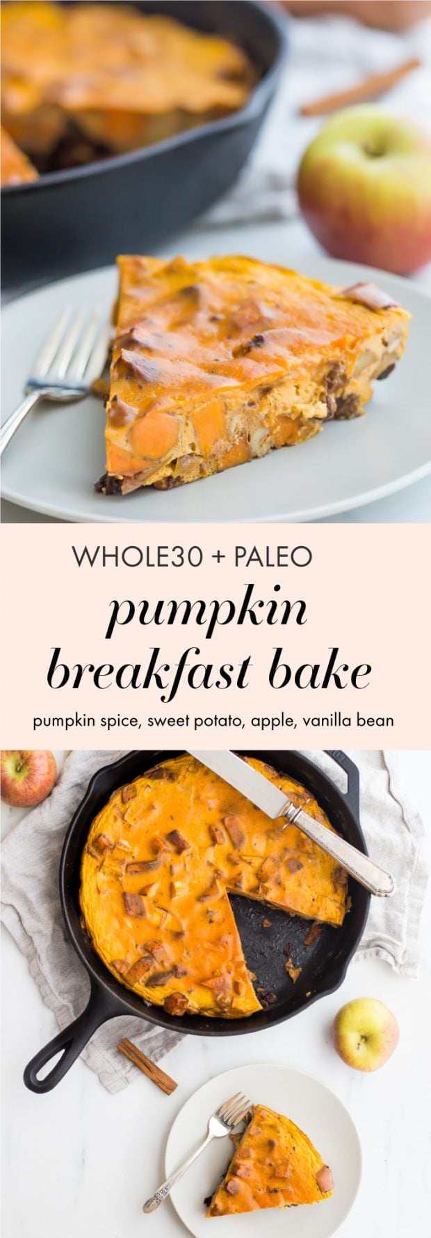 This Whole30 pumpkin breakfast bake is an autumn dream! With sweet potatoes, apples, pumpkin, pumpkin spice, walnuts, vanilla bean, and plenty of eggs for protein, you'll fall head over heels in love with this Whole30 breakfast bake. Pretty sure this Whole30 pumpkin breakfast bake could save a soul or two on a round, and it might just become your favorite Whole30 breakfast bake altogether!