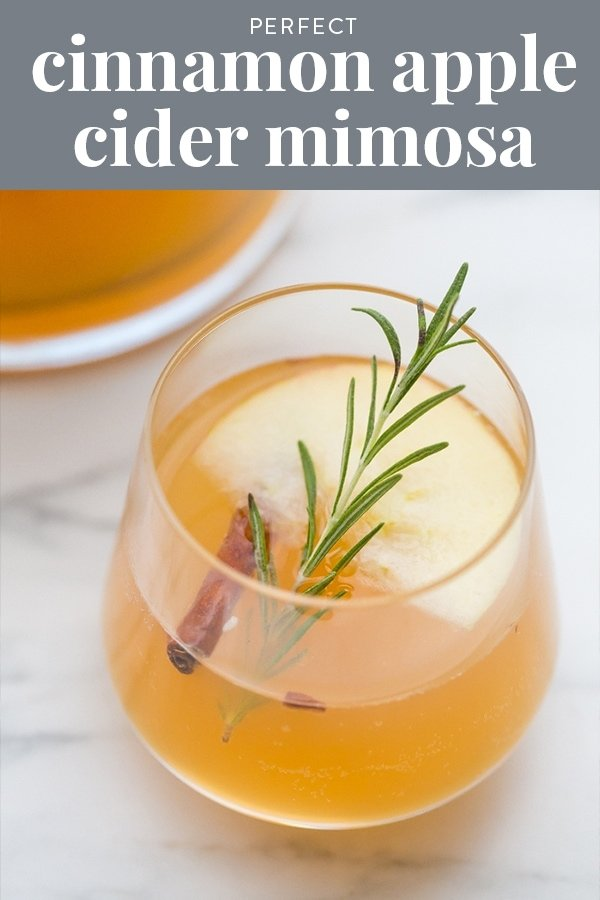 This cinnamon apple cider mimosa recipe is just perfect. Made with only 3 ingredients, it tastes just like cinnamon apple cider but with a nice boozy kick. Made with sparkling wine, apple cider, and cinnamon whisky, they're quick and easy, perfect for fall, Halloween, Thanksgiving, and Christmas. #cocktail #thanksgiving #fall #applecider #mimosa #drink #alcohol #booze #festive #thanksgiving #christmas #halloween #autumn #recipe