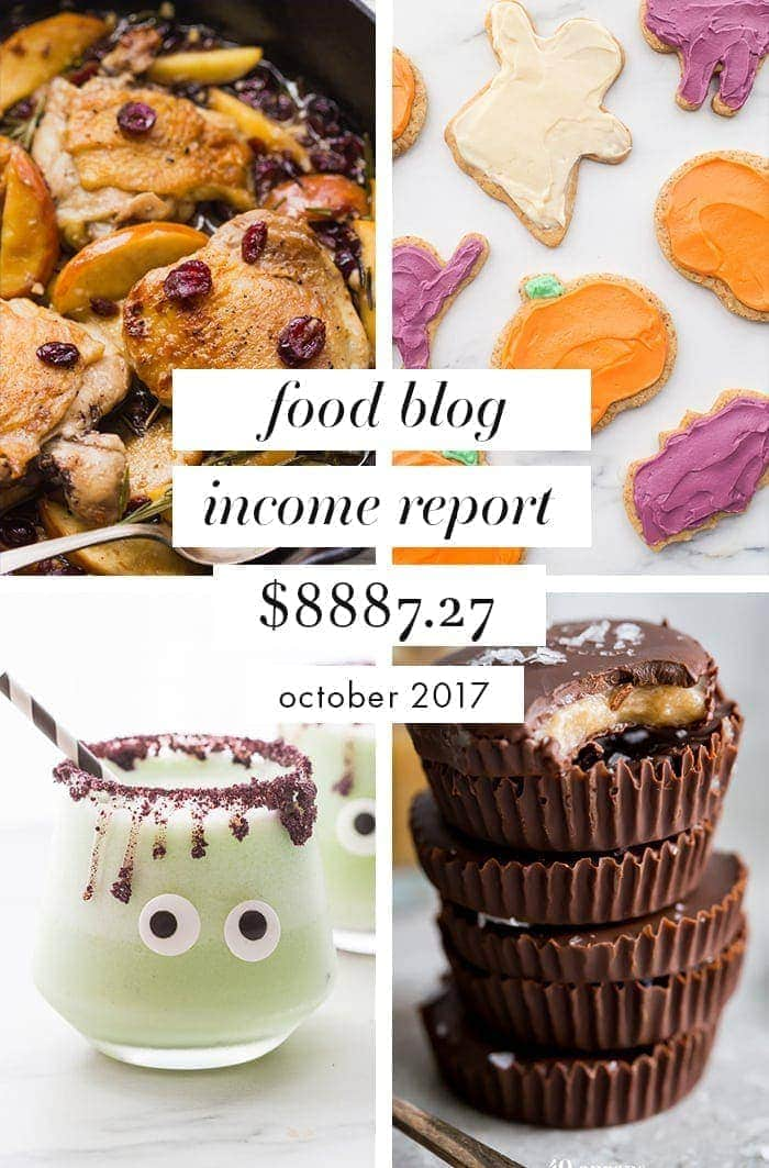 This is our food blog income report for October 2017. This food blog income report shows you how much traffic we had, what money we made, where it came from, and what it cost to run our site. This food blog income report is awesome for food bloggers looking to expand and monetize their blogs!