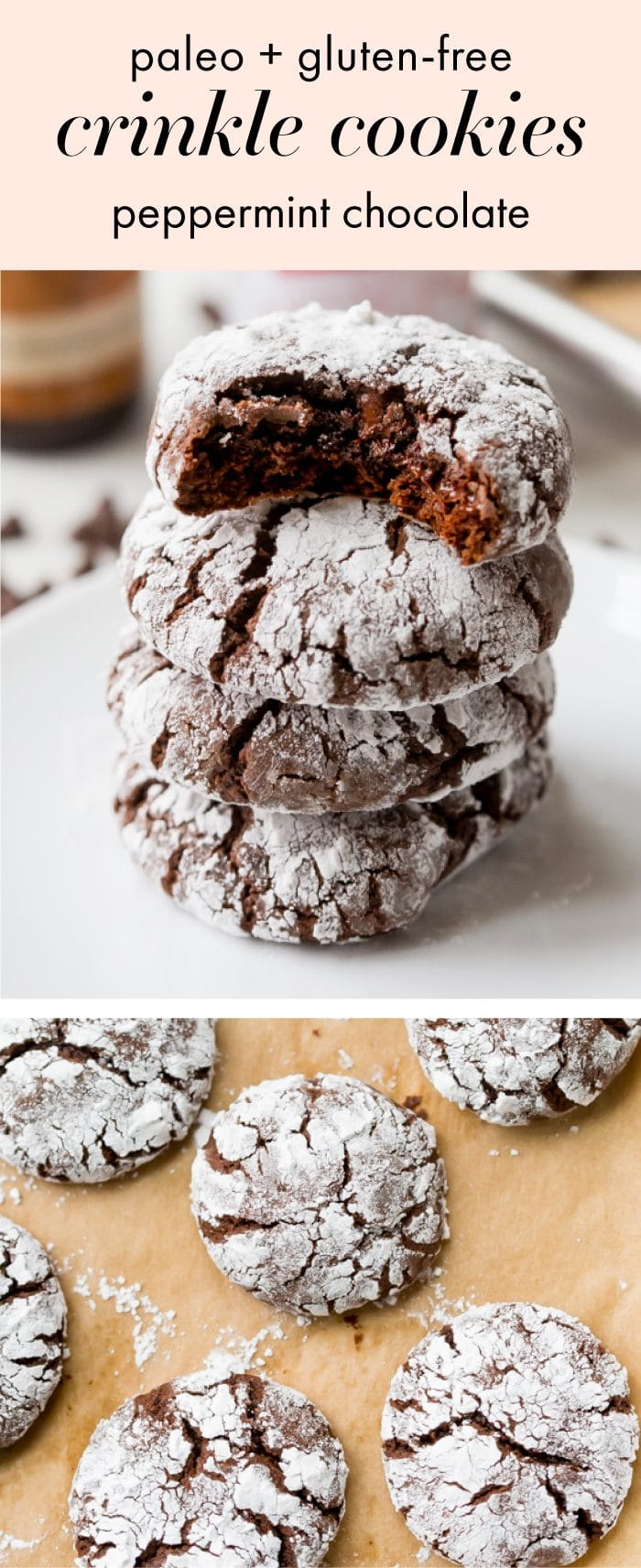 These peppermint paleo gluten-free crinkle cookies are fudgy and rich, perfect for the holidays. Grain-free and refined-sugar-free, these paleo gluten-free crinkle cookies are a guilt-free way to indulge in holiday treats without breaking your commitment to a healthier lifestyle. These paleo gluten-free crinkle cookies have hints of peppermint, making them positively festive. Your friends and family will never believe these gluten-free crinkle cookies are paleo!