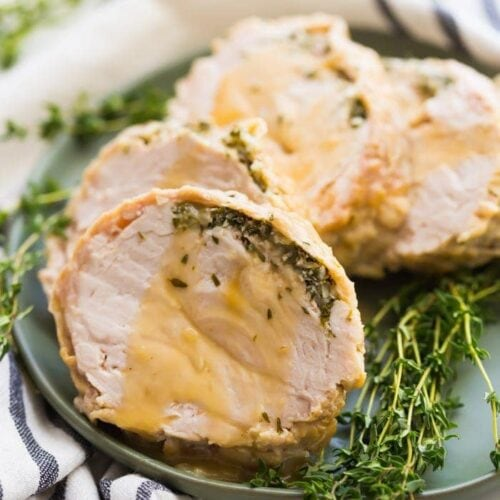 This Whole30 Instant Pot turkey breast with gravy is quick, so delicious, and totally Whole30 compliant. Brined with a garlic-herb butter under the skin, this Whole30 turkey breastand the gravy are both made in the Instant Pot, making Thanksgiving easier! You'll love this Whole30 Instant Pot turkey breast and gravy, because the meat is so tender, and the gravy is so easy. Perfect for any Whole30 Thanksgiving or paleo Thanksgiving table.