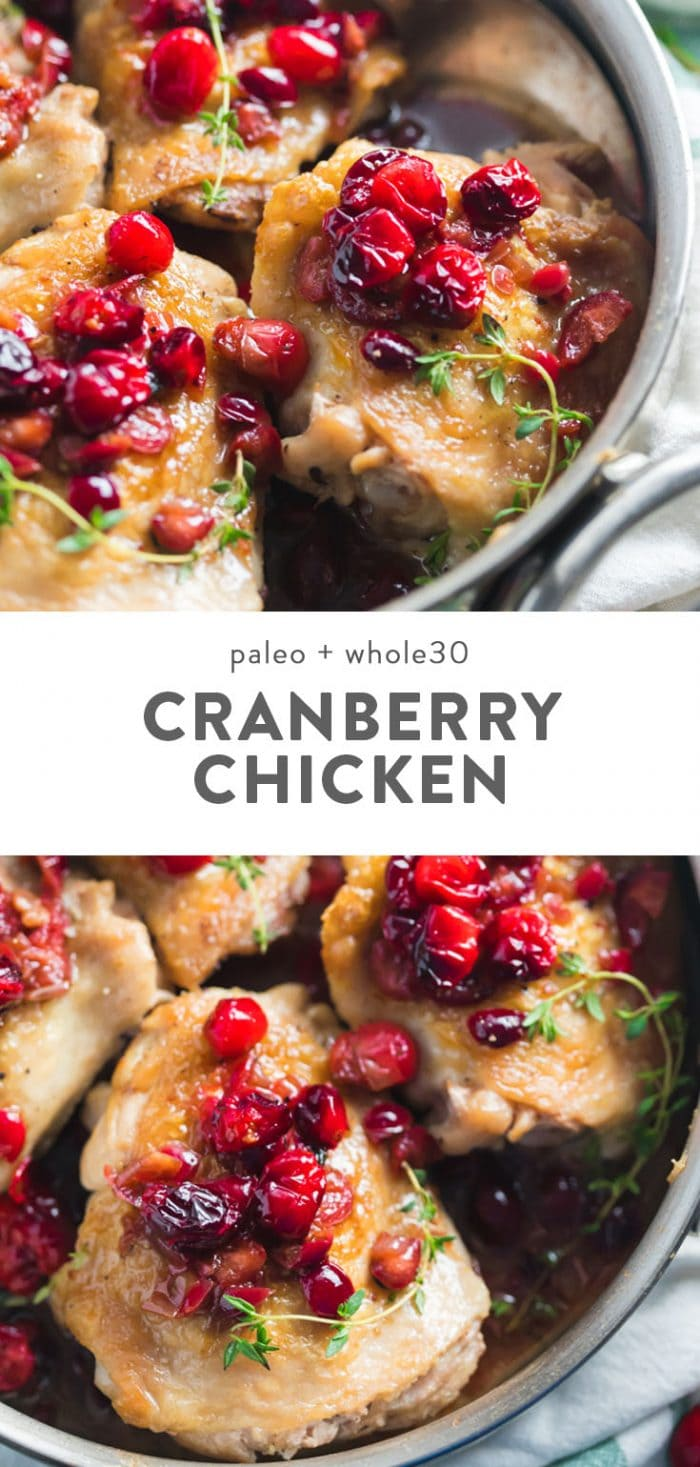 Whole30 cranberry chicken in a sautee pan.