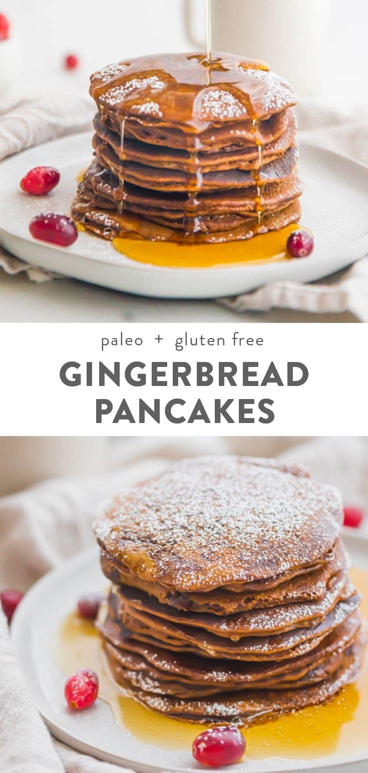 These paleo gingerbread pancakes taste just like a slice of gingerbread cake! Fluffy and rich, these paleo gingerbread pancakes are an easy healthy Christmas morning breakfast recipe. Gluten free and grain free. #healthybreakfast #christmas